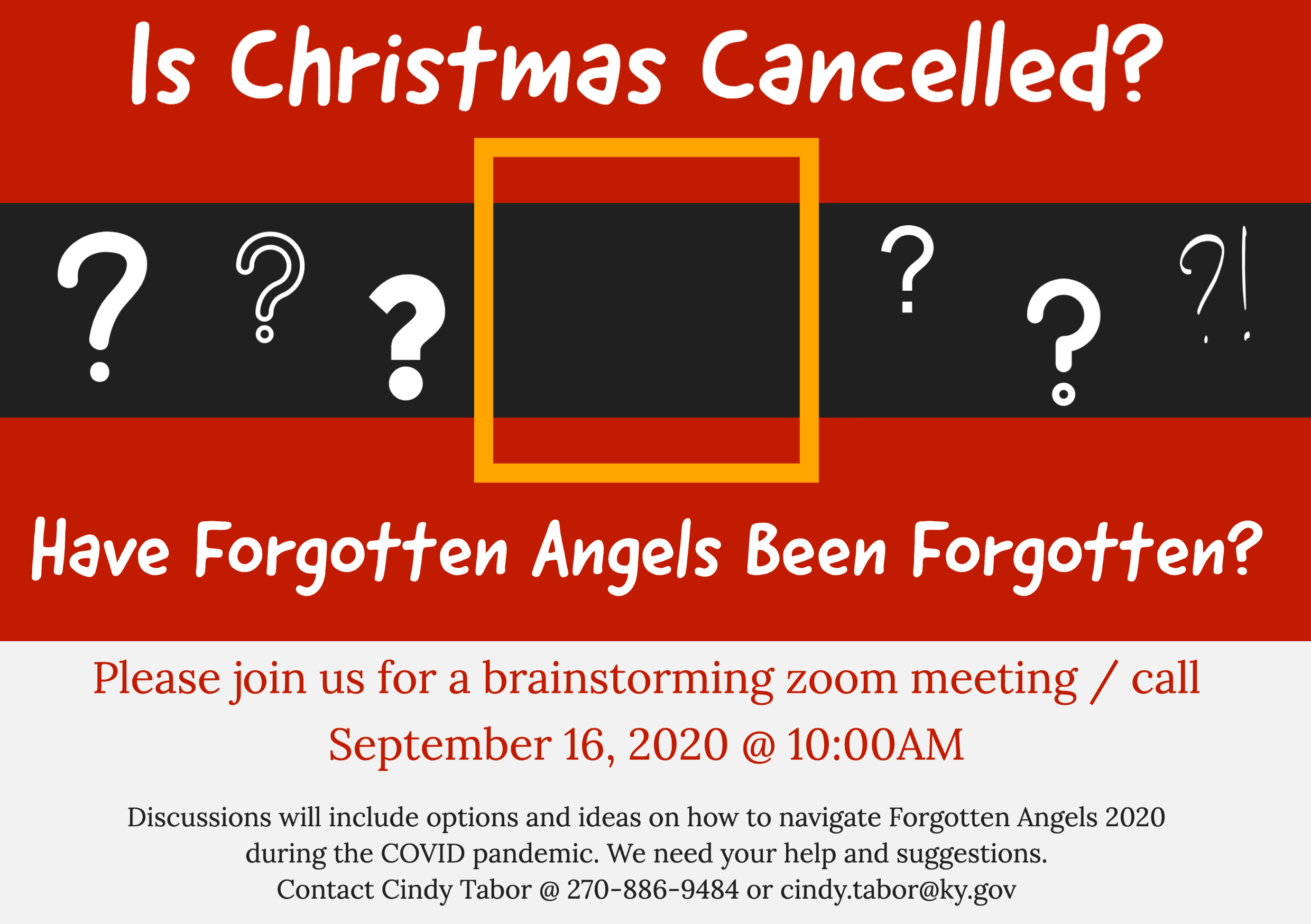 Forgotten Christmas 2020 Forgotten Angels Brainstorming Zoom Meeting | Pennyrile Area
