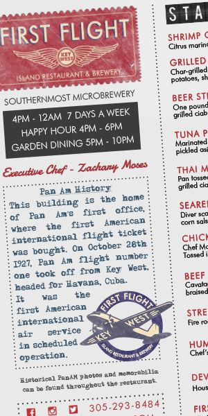 Click here to view all menus at First Flight Restaurant and Brewery