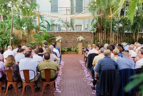 evening wedding reception in the canopy garden at First Flight Restaurant