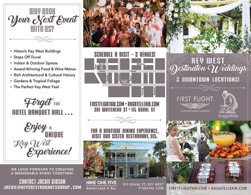 outside file of destination weddings and events brochure of Keys Restaurants Group