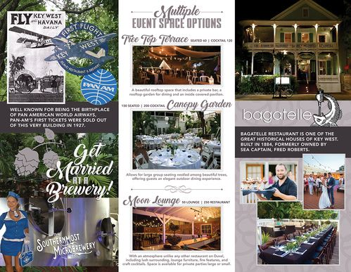 inside file of destination weddings and events brochure of Keys Restaurants Group