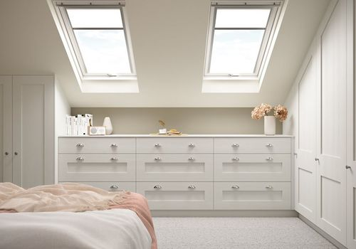 Image of an all-white modern fitted bedroom design