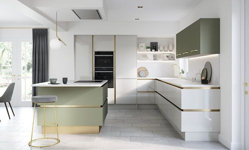 Image of a modern white and green open plan kitchen design from the Milano range