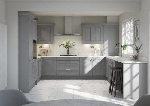 Image of the Mornington dust grey kitchen design with white granite worktops