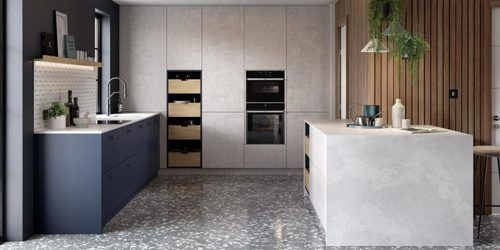 Image of a modern kitchen design featuring a variety of natural materials, such as concrete.