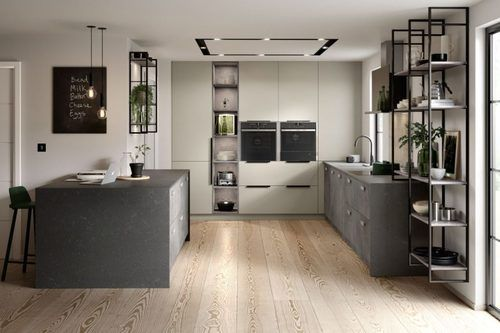 Image of a neutral modern kitchen design featuring concrete worktops and drawers for an industrial look.