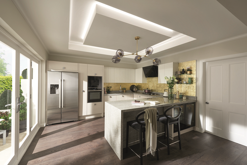 Image of a modern kitchen design in an open layout.