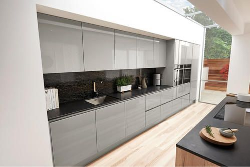 Image of The Porter kitchen by Second Nature in a silver grey colour scheme.