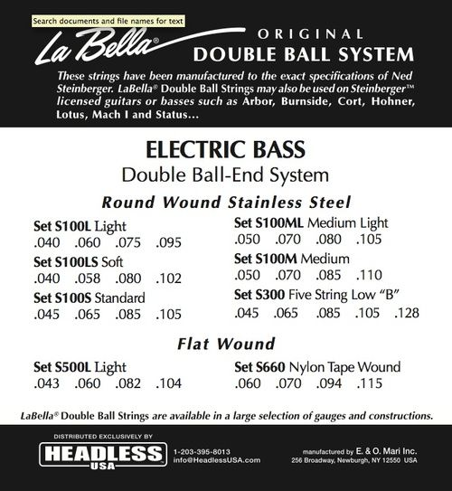 New LaBella Steinberger Double Ball-End Guitar Strings All Gauges! In Stock!