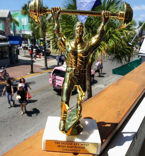 tiki house key west iron bartender champion trophy