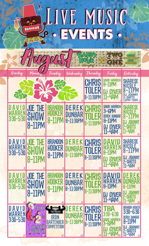 calendar of live music and events at tiki house key west. contact us for more details 3059029277