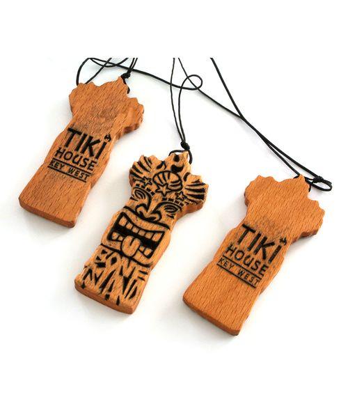 wooden tiki god pendant on black rope necklace