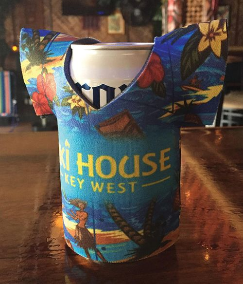 can cooler in shape of tshirt with hawaiian shirt print and tiki house logo