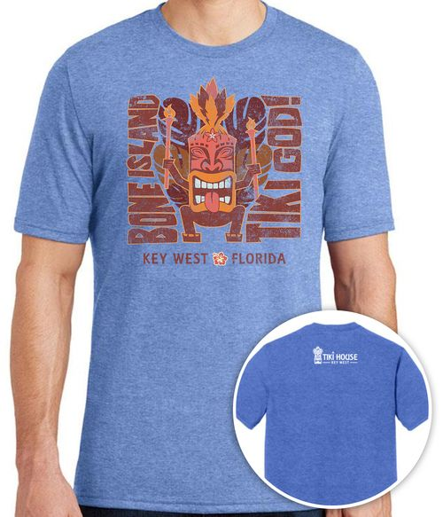 men's blue t-shirt with tiki god cartoon and bone island tiki god, key west florida on front, white tiki house logo on back