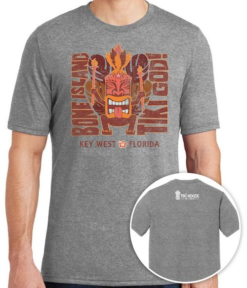 men's grey t-shirt with tiki god cartoon and bone island tiki god, key west florida on front, white tiki house logo on back