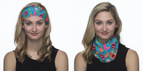 female model wearing half hoo as head band and neck scarf