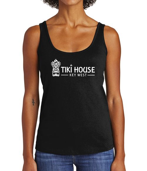 women's black tank top with tiki house logo in white on front