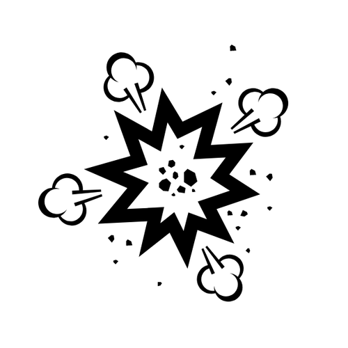 A small black and white explosion icon