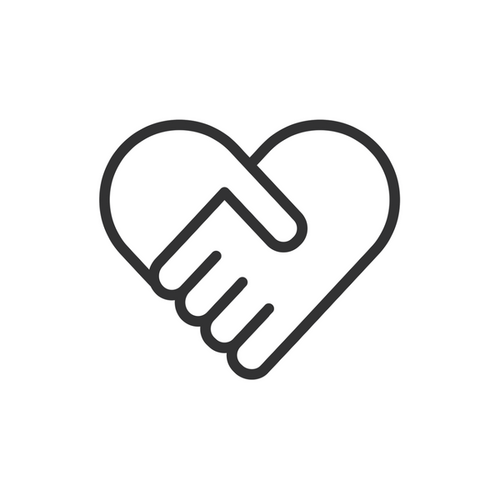 Interlocked hands forming a heart icon