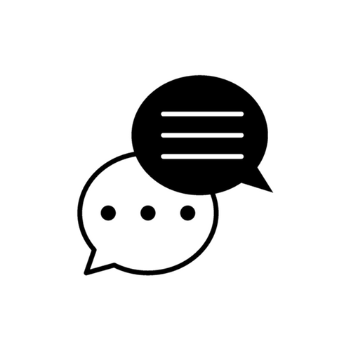 An icon of two text bubbles