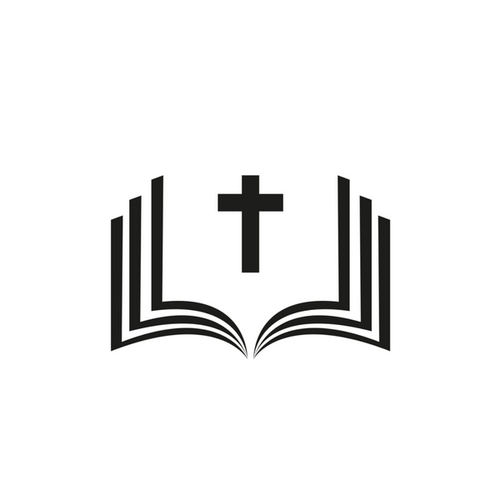 Icon of bible open with cross in the middle