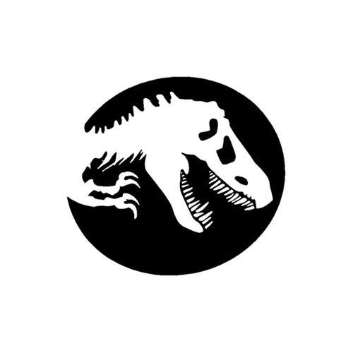 An icon of a T-rex skeleton in a solid circle