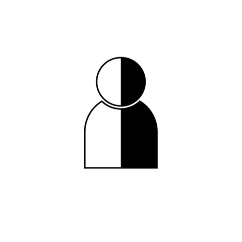 A person split vertically black and white icon