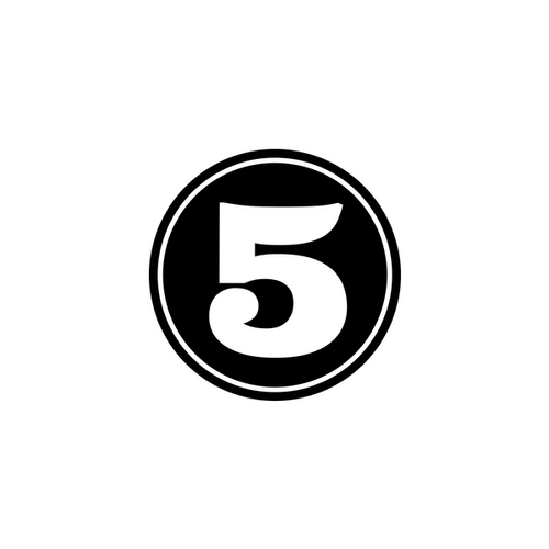 the number 5 in a black circle