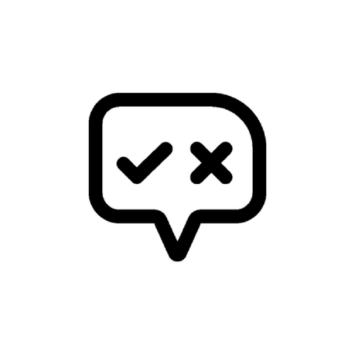 Speech bubble with check and x