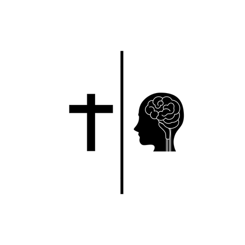 cross and person separated by vertical line