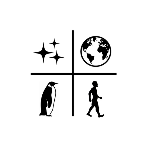 Sparkles, Earth, Penguin, and Man divided into quadrents