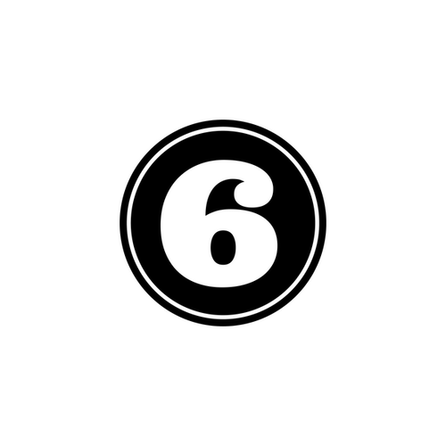 The number six in a black circle