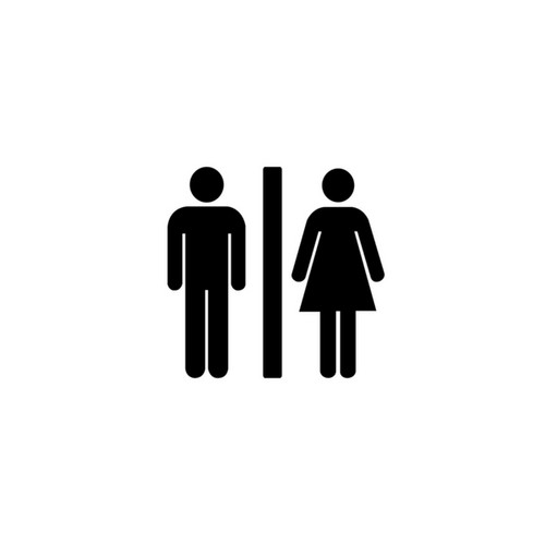 Man and woman icon divided by vertical line