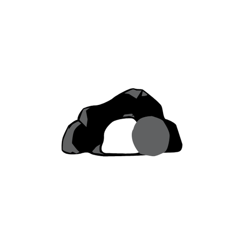 cave with boulder partially blocking opening icon
