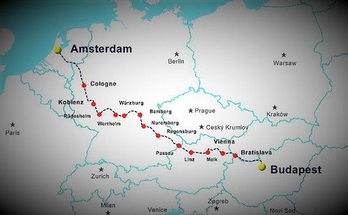 Amsterdam Budapest 15 Day River Cruise Map