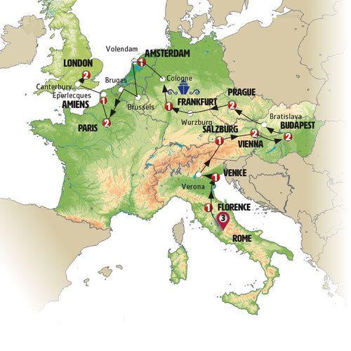 Roem to London Tour Map
