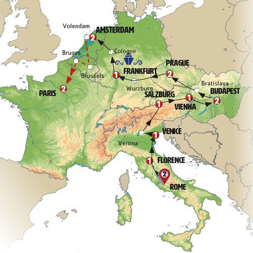 European Delight Rome to Paris Tour Map