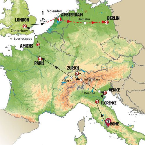 Rome to Berlin Tour Map