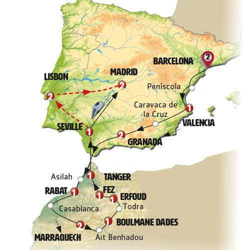 The Magic of Spain, Portugal and Morocco Tour Map
