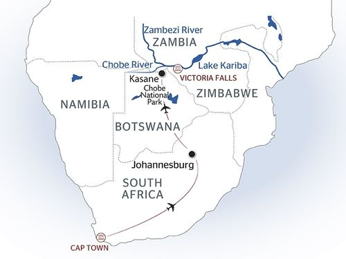 South Africa and Cape of Good Hope cruise map