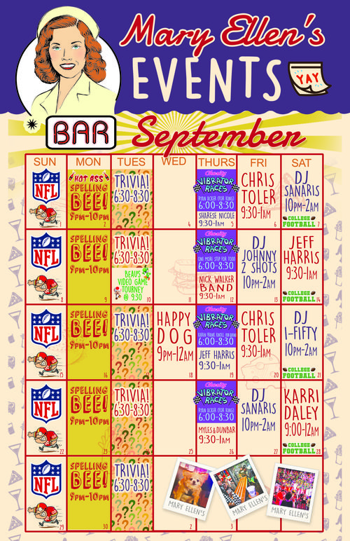 September Calendar of Events at Mary Ellen's Bar