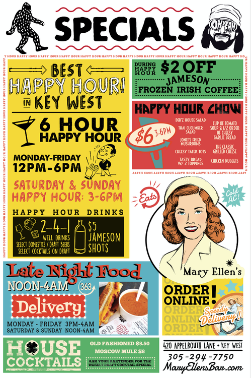 Poster image of Mary Ellen's events, online ordering, and happy hour specials.