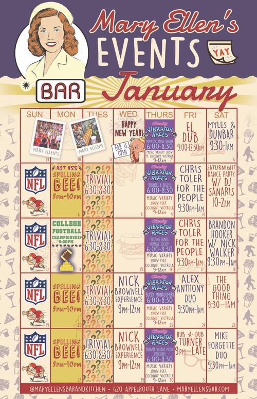 December Calendar of Events at Mary Ellen's Bar