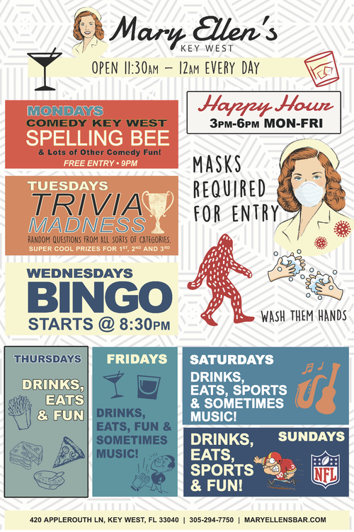 Poster image of Mary Ellen's weekly events and specials.