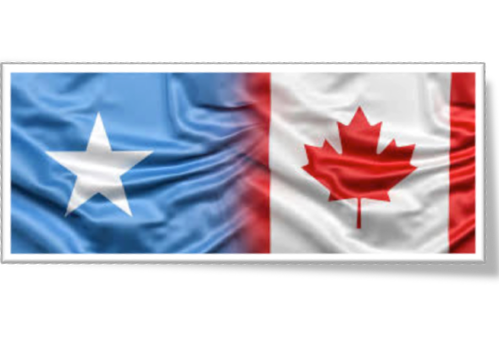 Image of the Somalia flag (left) blending into the Canadian flag (right) in the middle.