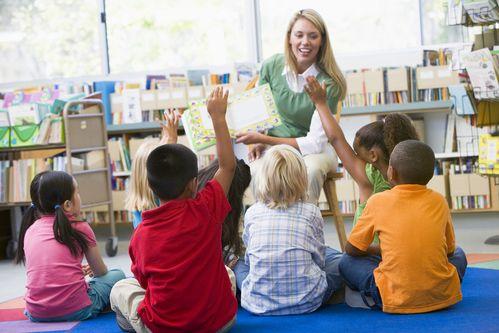teacher leading children in classroom for Sunday school
