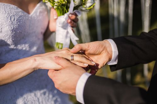 wedding groom holding bride's hand with wedding ring