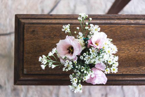 funeral flowers on coffin casket