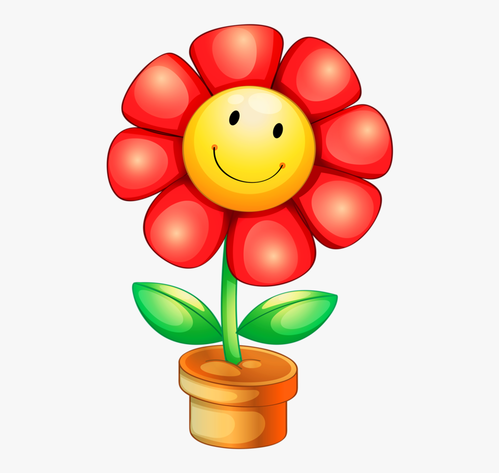 happy face flower clipart