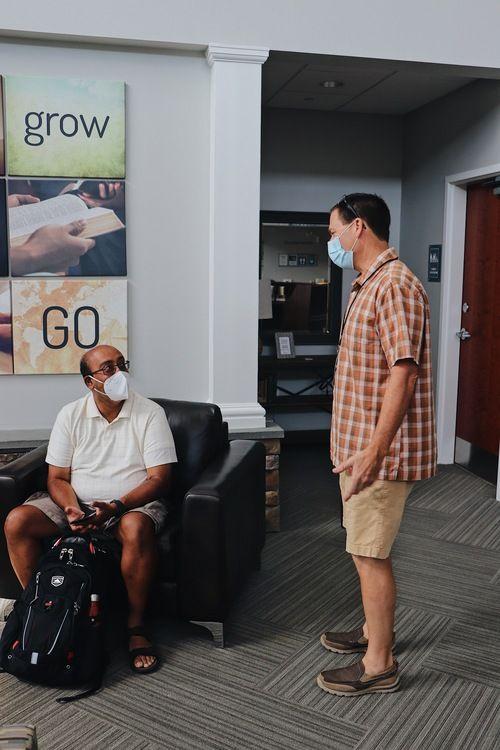 Men in lobby
